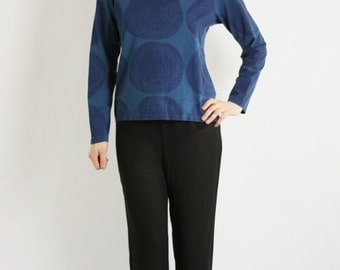 Vintage 80's 90's Marimekko Blue Abstract Print Top Shirt Sweater Long Sleeves