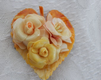 Vintage Celluloid Brooch  Plastic Flower Brooch Antique Celluloid Brooch Vintage Brooch