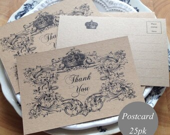 """Rustic Thank You Postcards Thank You Cards Thank You Notes 4x6"""" Vintage Style Rustic Wedding, Kraft Cardstock Vintage Style Printed 25pk"""