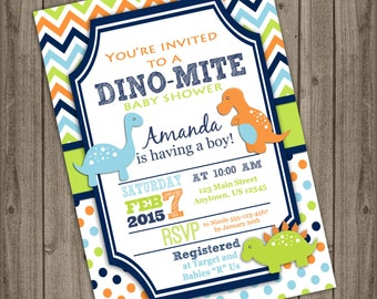 Baby Boy Shower Invitation Dinosaur Invitation Blue Green Orange Chevron Polka Dot Boy Baby Shower Invitation, Custom DIY Digital Printable
