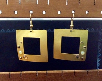 mod gold square dangle earrings with Swarovski crystals
