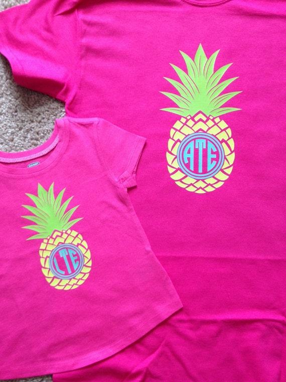 Items Similar To Pineapple Monogram T Shirt On Etsy