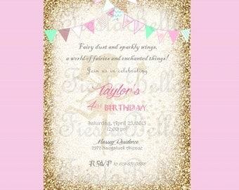 Fairy birthday invitation, mint, green, pink, gold, gold bunting. Fairy invitation.Woodland fairy, Garden fairy. Garden party invitation