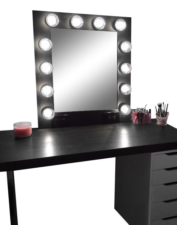 Vanity Makeup Mirror with Lights- Available Built in Digital LED Dimmer and Power Outlet- Just Plug it in and Watch it Light up!