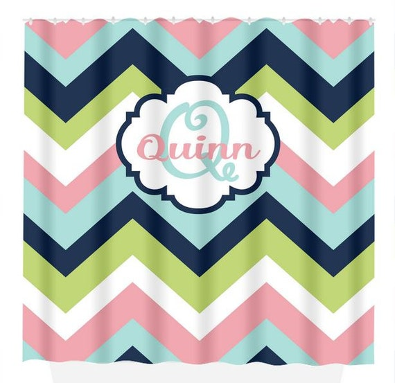 Items Similar To Chevron Navy Aqua SHOWER CURTAIN Custom MONOGRAM Window Cu