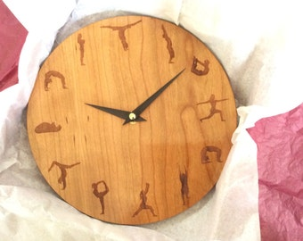 yoga clock, yoga, yoga wall clock, wood wall clock, wall clock, wood clock, large wall clock, clock, wall clocks