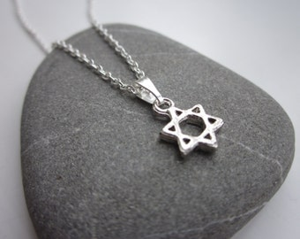 Tiny star necklace, star of david necklace, star pendant, silver necklace, jewellery UK