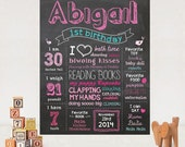 First Birthday Hot Pink Chalkboard sign Printable - 1st birthday Chalk board poster -  Pink theme - DIGITAL FILE!