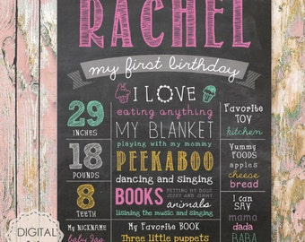 Baby girl - First Birthday Chalkboard Printable Poster - colorful ice cream theme - Pink Chalk board sign 1st birthday party - DIGITAL FILE!