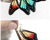 Rainbow Butterfly Wing Earrings - Resin Transparent Morpho Butterfly Earrings - Transparent Dangle Earrings - Summer trending Earrings
