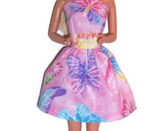 Fashion Doll Clothes-Glittery! Pink Butterfly Print Strapless Party Dress