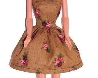 Fashion Doll Clothes-Brown/Pink Floral Strapless Party Dress