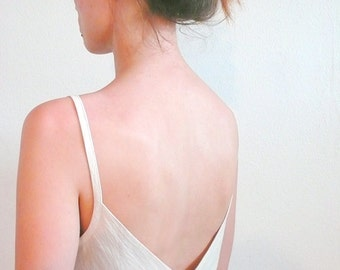 Backless dress, a dress romantic summer for woman in unbleached cotton, a romantic summer dress in natural dyeing