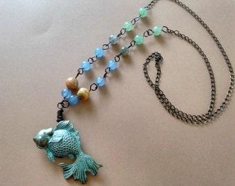Boho Gemstone Ocean Necklace, Gypsy, Bohemian Jewelry, Aquatic, Sea, Verdigris Blue Fish, Fish Pendant, Goldfish Necklace, Oxidized Copper