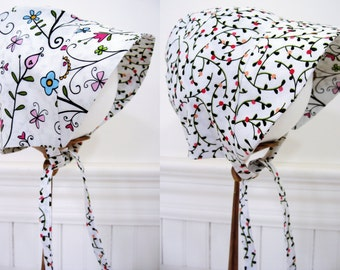 Baby bonnet baby girl bonnet baby sun bonnet baby shower gift new baby gift infant reversible sun bonnet pink floral cotton NB to 18 months