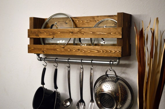 Rustic Kitchen Pot Rack Lid Holder Industrial by ...