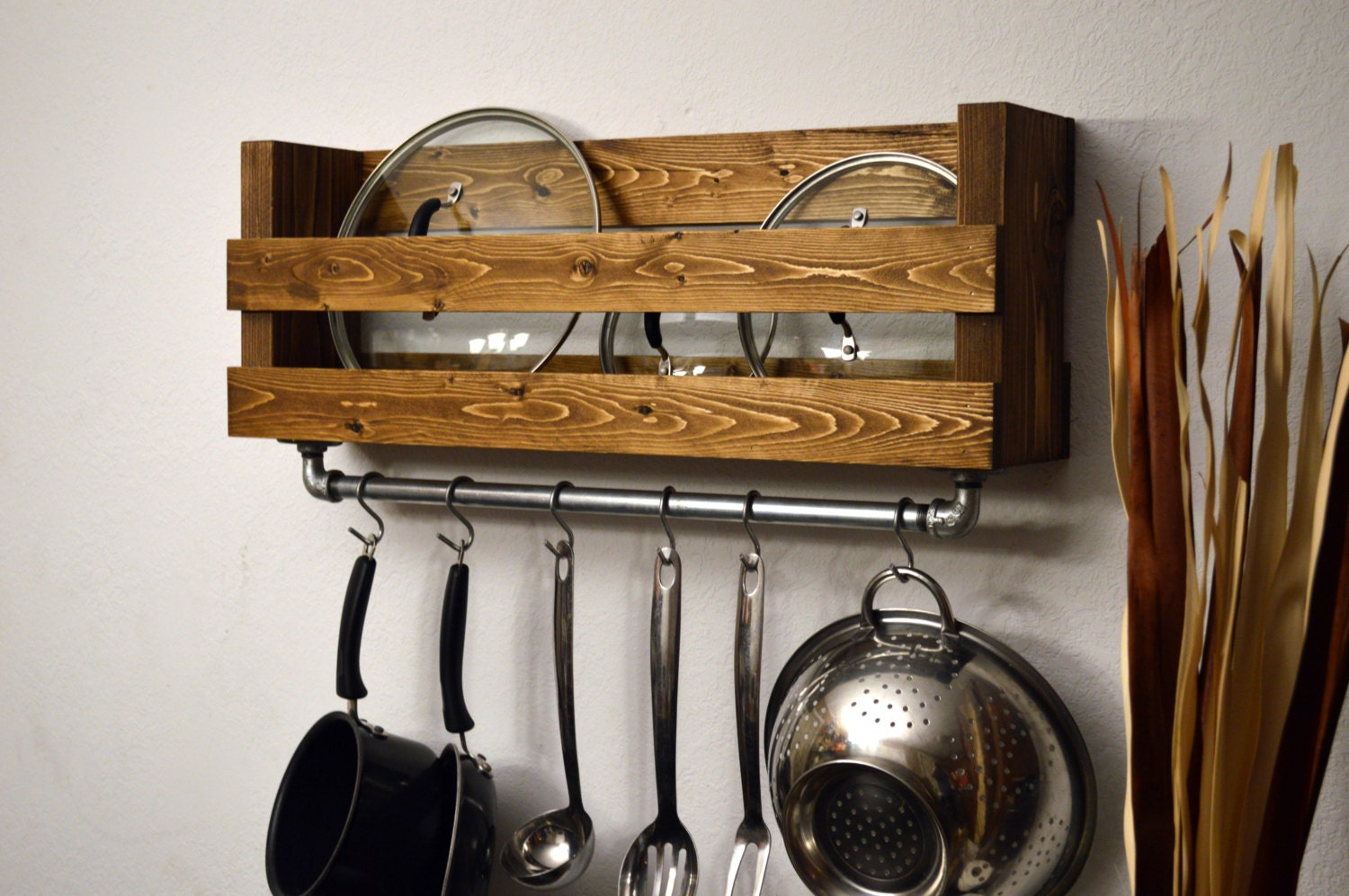 Rustic kitchen pot rack lid holder industrial by for Pot racks for kitchen