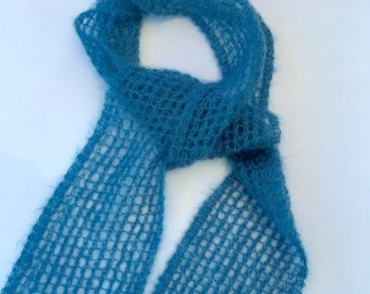 Mohair lace scarf, blue mohair lace light scarf.  Hand knit Blue mohair scarf, hand knit scarf, blue lace scarf.