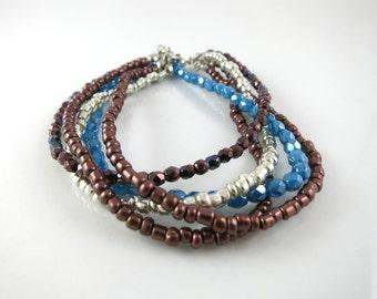 Multi Strand Bracelet, beaded bracelet, layered bracelet, Seed bead Bracelet, Earth Tones Bracelet, Mother's day gift, Gift for her,
