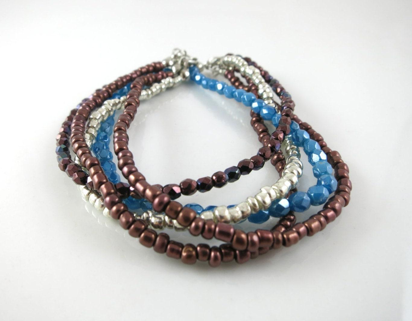 multi strand bracelet beaded bracelet layered bracelet seed