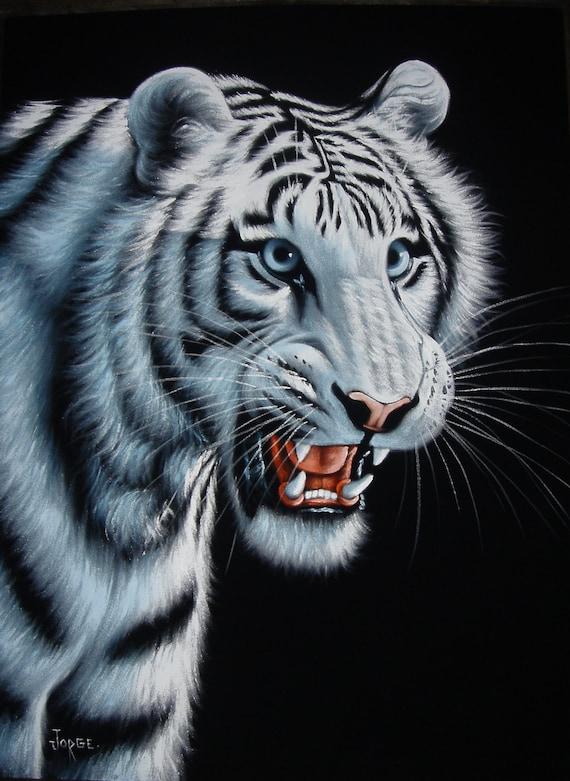 Tigre blanc noir velours peinture à l'huile peint à la