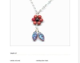 MamaPoppy_medium; dark red coral; czech glass; sterling silver; handmade imperfection