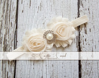 Ivory Cream Headband: Vintage Headband, Flower Girl Headband, Shabby Rose, Lace Wedding Headband, Pearl Rhinestone, Baby Toddler Girl Adult