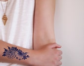 Delft Blue temporary tattoo / floral temporary tattoo / Dutch gift idea / bohemian temporary tattoo / festival accessoire / festival tattoo