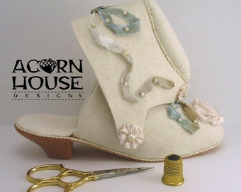 The Victorian Shoe Etui handmade original by Susan Myers/Acorn House Designs. Silk ribbon embroidery rose and bows w/ 1pair Gingher scissors