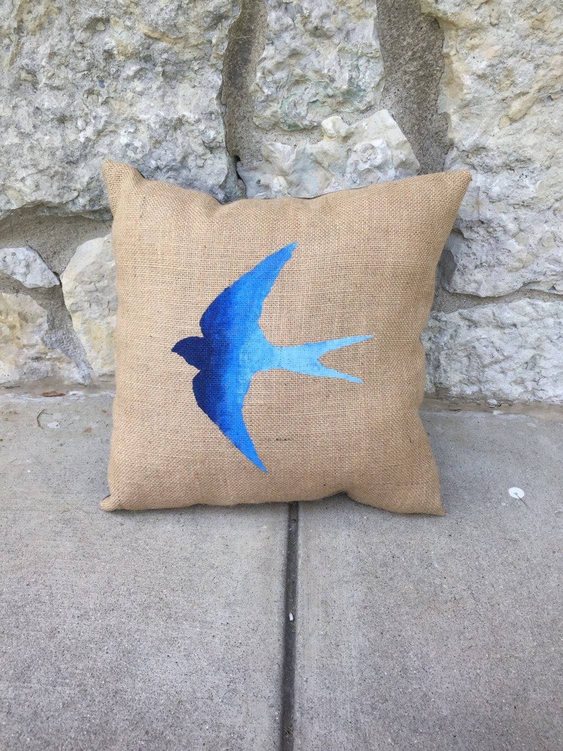 Shabby Chic Burlap Pillows : Shabby chic burlap decorative pillow with painted ombre blue