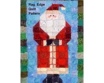 Santa Quilt Pattern, Old Saint Nick P332 Saginaw St. Quilt Co, Santa Claus Rag Edge Quilt Pattern & Wall Hanging Pattern, Rag Quilt Pattern