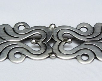 Vintage Taxco Sterling Silver Brooch With Stylized Scrollwork..Signed