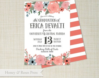Rustic Floral Graduation Invitation  . Grad Announcement  .  Shower Invitation  .  Digital Invitation  .  Printable Invitation