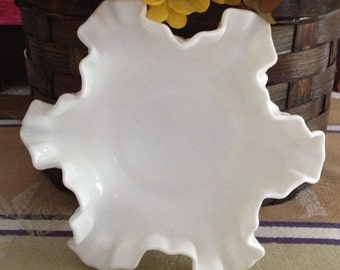 Fenton Hobnail Milk Glass Double Crimped Bon Bon Dish, Milk Glass Candy Dish, Hobnail Milk Glass Trinket Dish, Bon Bon Dish
