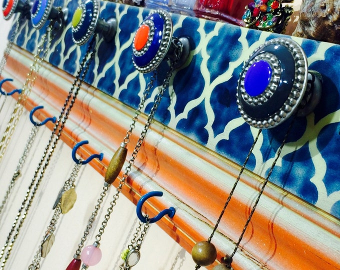 reclaimed wood wall hanging Morrocan decor /coat rack crown molding /jewelry storage scarf hanger 6 cobalt blue hooks 5 hand-painted knobs