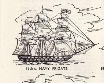 vintage ship print illustration types of ship clipper warship sailing ship 1963 frigate nautical