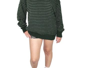 Dark Green Polka Dot Sweater, Dark Green Polka Dot Jumper, Polka Dot Grandpa Sweater