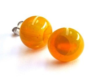 Mimosa Yellow Glass Stud Earrings on titanium posts