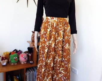 Vintage 70s paisley long skirt - caramel brown white & yellow  - groovy!