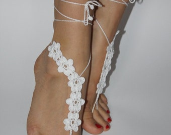 Barefoot sandals,Crochet Barefoot Sandals,Bridesmaid Gift,Ankle,Beach Barefoot Sandals,Bridal Barefoot Sandals,Wedding Barefoot Sandals