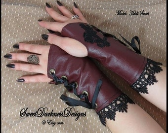 Gothic Wrist Cuffs Gothic Corset Fingerless Gloves Steampunk Wrist Corset Burgundy Leather Gloves Gothic Clothing by SweetDarknessDesigns
