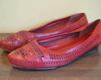 Vintage 1980s Red Leather Craft Southwestern Styled Flats Size 7.5
