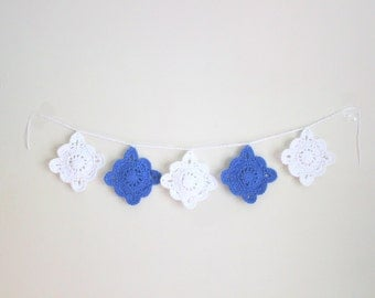 "36"" Crochet Doily Garland, Boho Garland, Blue and White Decor, Cottage Chic, Home Decor, Dorm Decor, Gifts for Her"