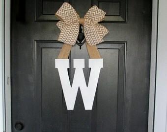 Monogram Door Letter, Front Door Wreath, White Wooden letter with chevron burlap bow, Initial door hanger, Personalized gift