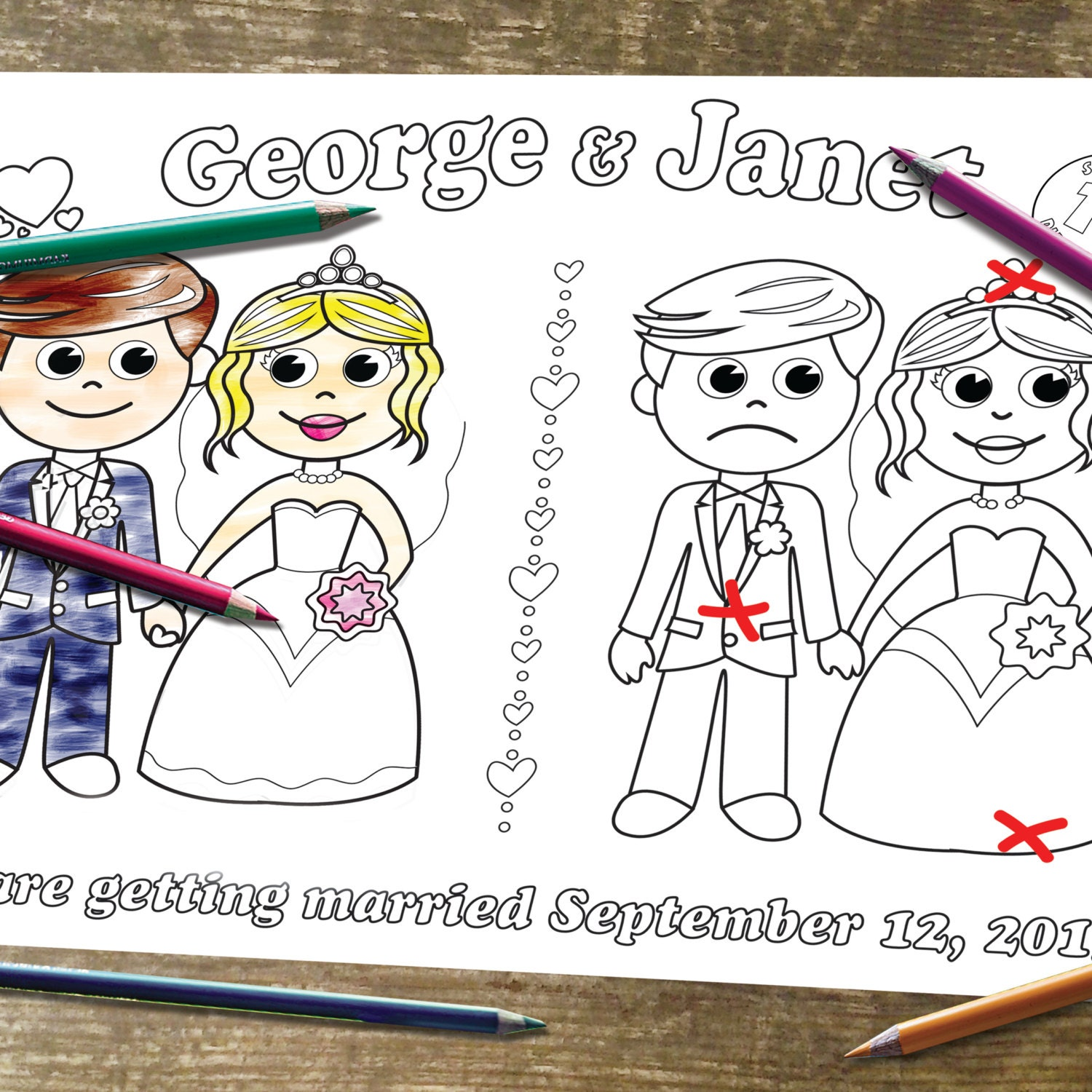 spot the differences coloring page printable personalized