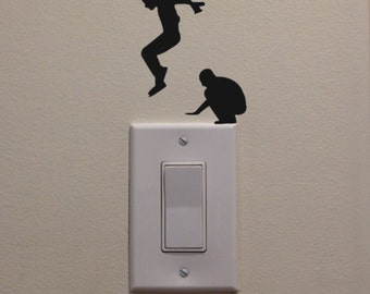 "Leap Frog Jumping on Light Switch - Car/Truck/Laptop/Phone/Computer Decal (3.75"" H x 3"" W)"