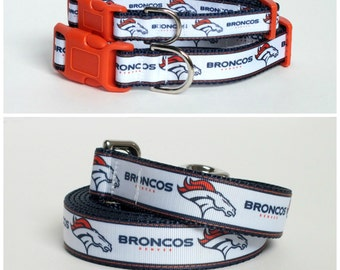 Denver Broncos Dog Collar and leash set