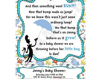 Set of 10 Dr. Seuss Baby Shower Invites Physical Item Not Digital Download