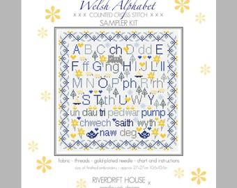 CROSS STITCH KIT Welsh Alphabet Sampler by Riverdrift House