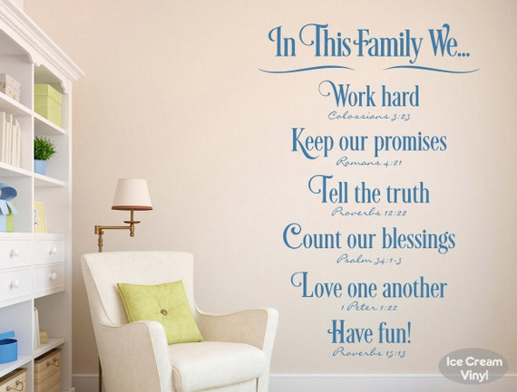 Scripture Family Wall Decal Family Rules Psalm Proverbs Romans Vinyl Decal Bedroom Family Room Home Decor Vinyl Lettering